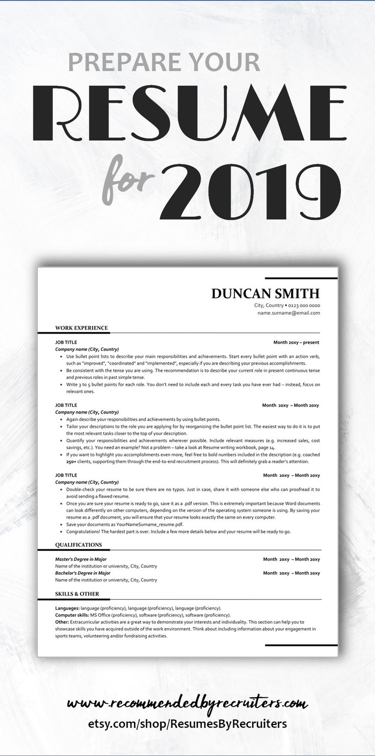 ATS friendly Resume Template Instant Download One Page
