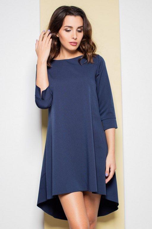 Granatowa sukienka z asymetrycznym dołem