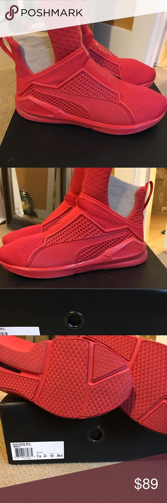 Women's Fenty trainer in Red! Sz 10!!! Women's Fenty trainer in Red! Sz 10!!! Worn a few times...... kept in box. Original box!!! Excellent condition! No scuffs or scrapes! Take a look at the bottom of shoe!!! 👍🏽👍🏽👍🏽 smoke free. Pet free home. No odors!!! These were sold out every where last summer. I purchased from a private seller!!! Puma Shoes Athletic Shoes