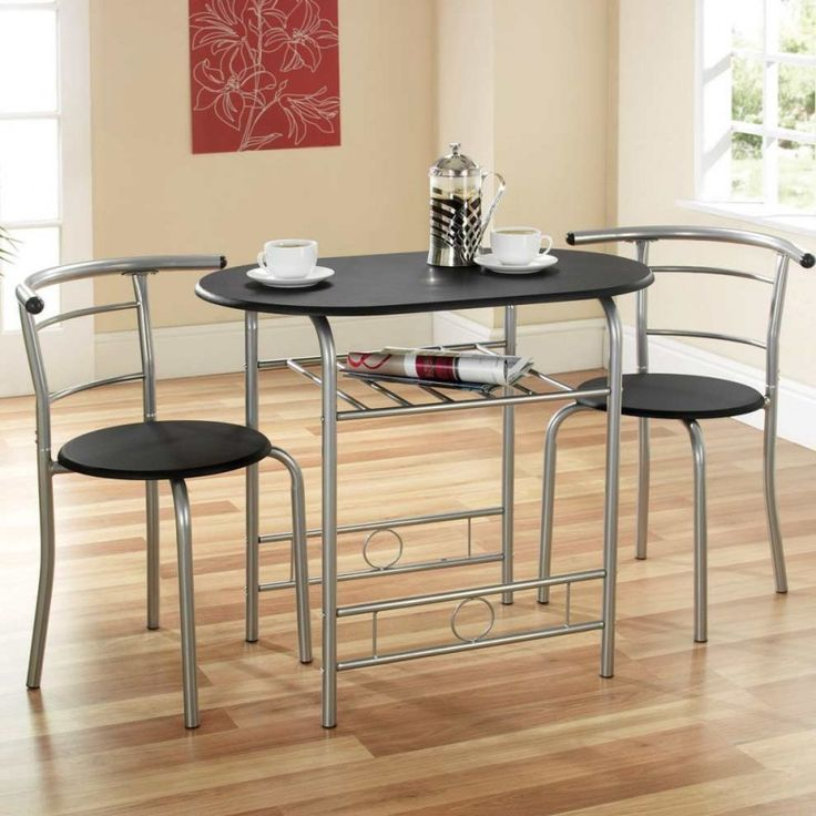 Compact Dining Set. Black with silver frame.