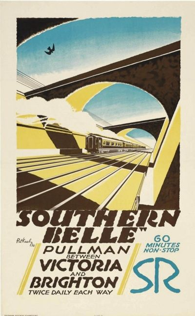 Southern Belle Pullman between Victoria and Brighton. Train travel poster.