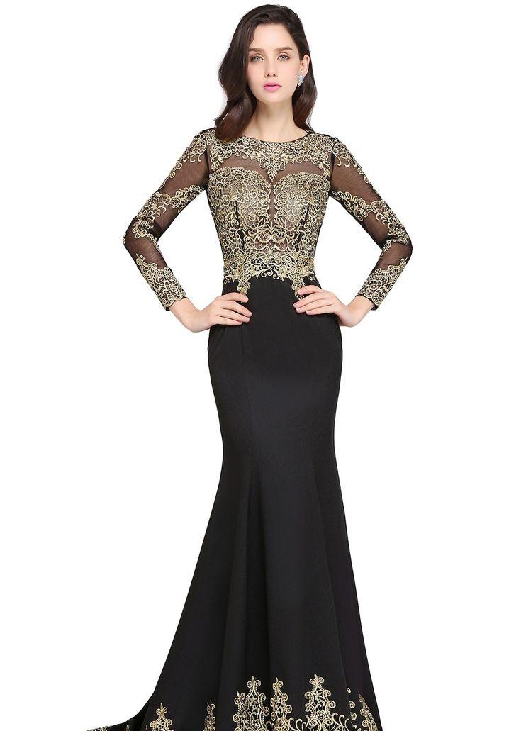 Elegante Schwarz Abendkleider mit Ärmel online nachmäßig anfertigen, Golden Applikationen Rücken Frei.