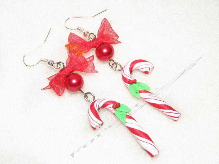 Orecchini caramelle a bastoncino Candy cane Natale fimo idea regalo, by Forever AB, 7,00 € su misshobby.com