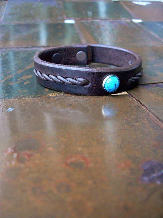 leather bracelet with stair step braid turquoise stone or silver rivet. gifts for him. The TwistBraid Leather Cuff Bracelet with by SexySkinsLeather, $34.50