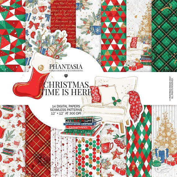 Christmas Digital Paper Pack Christmas Digital Paper