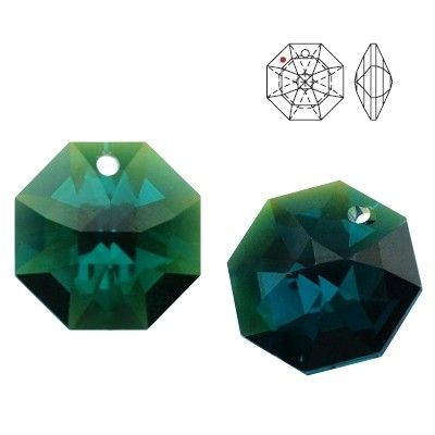 STRASS Swarovski 8115 Octagon 14mm Emerald Blue AB with 1 hole  Dimensions: 14,0 mm Colour: Emerald Blue AB 1 package = 1 piece