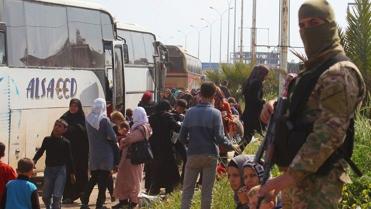More than 100 people were killed when a car bomb exploded near buses evacuating Syrians outside of Aleppo on Saturday.