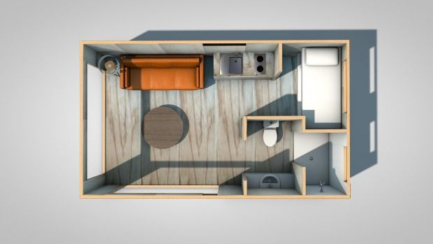 A bird's-eye view of the ground floor of the tiny house plan.