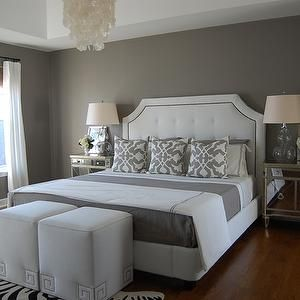 Gray Bedroom Paint White Tufted Headboards And Capiz