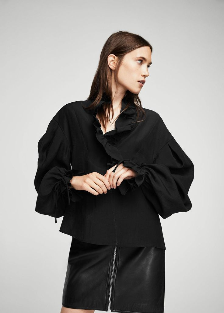 Ruffled puff sleeves blouse - Women | MANGO USA