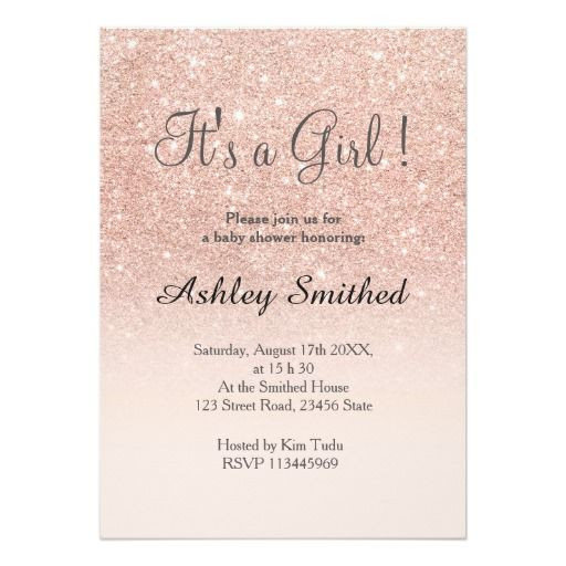 rose gold faux glitter pink ombre girl baby shower card