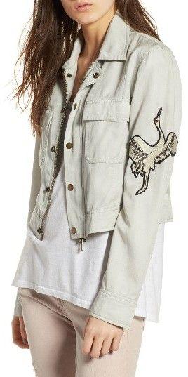Women's Pam & Gela Embroidered Crane Cargo Jacket
