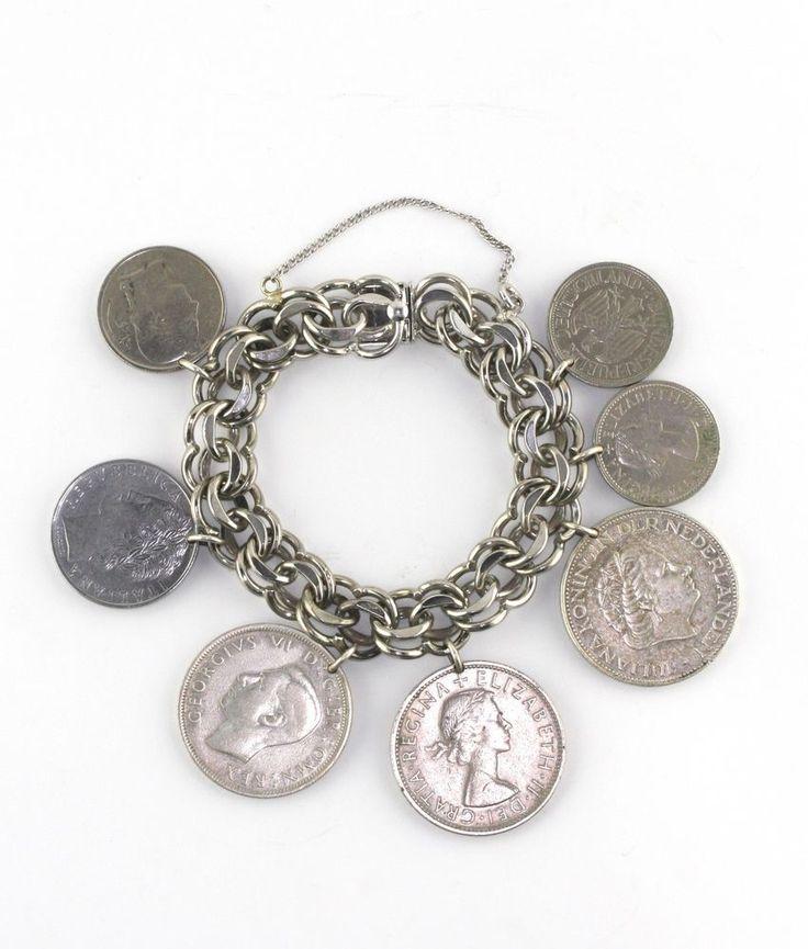 Vintage Winard Sterling Silver Double Link 3 Decade World Coin Charm Bracelet #Winard