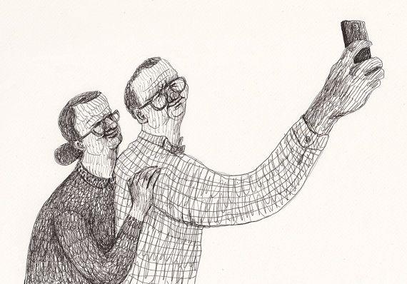 Selfie  ORIGINAL ILLUSTRATION /  Pen drawing / Hold me by Tosya, $55.00