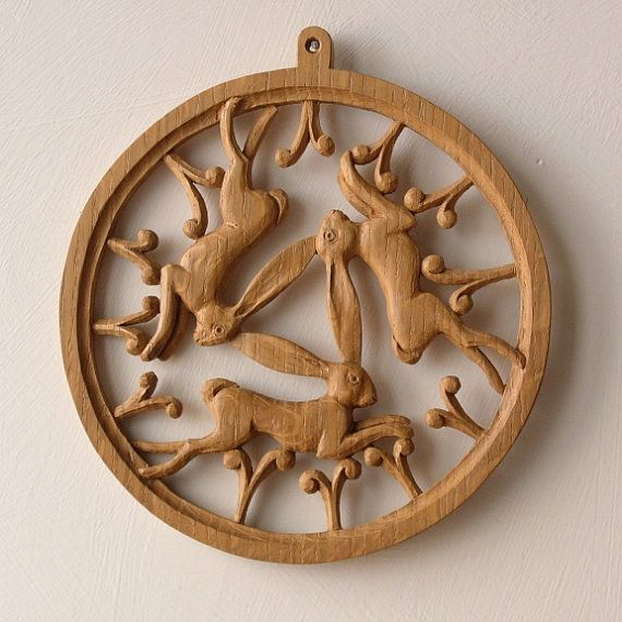 Three Hares Woodcarving in English Oak | Nick Hunter, Woodcarver