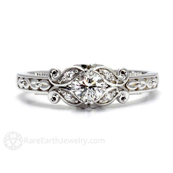 Diamond Engagement Ring Vintage Style Ring Filigree Ring