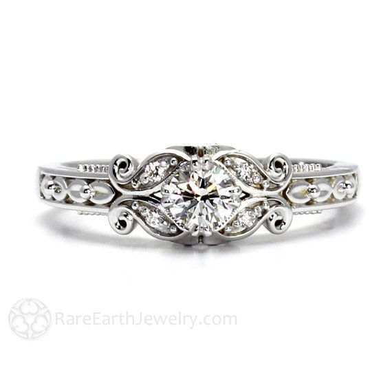 $1630. Diamond Engagement Ring Vintage Style Ring Filigree Ring Milgrain Conflict Free Diamond Ring 14K or 18K Gold