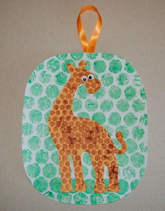 AFRICA- giraffe craft using bubble wrap painting