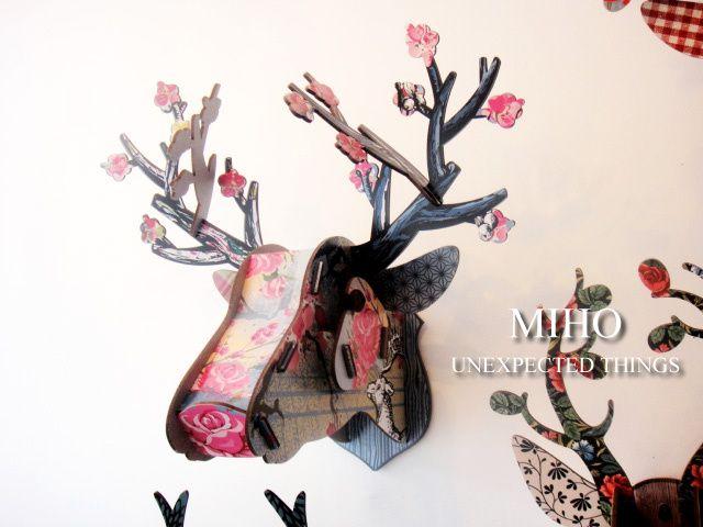 【楽天市場】カラフルな北欧デザイン シカの壁飾り MIHO2010BLOSSOM MADEinItaly MDF板を組み立てて作る鹿オブジェ雑貨通販【RCP】:selectstore