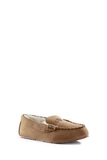 P- Size 11 Kids Suede Moc Slippers from Lands' End