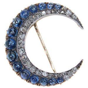 Victorian Sapphire & Diamond Crescent Moon Brooch