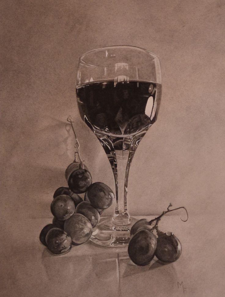 'It's Still Wine'  Charcoal and graphite  $950.00 -Contact - Melanie Ferguson Art on Facebook https://www.facebook.com/MelanieFergusonArt?ref=hl