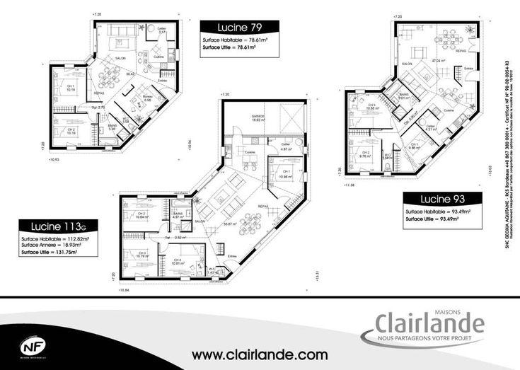 plan de maison en u plain pied | maison | pinterest | plain pied ... - Plan Maison Plain Pied 4 Chambres Gratuit