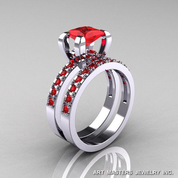 Classic French 14K White Gold 1.0 Ct Princess Rubies by artmasters, $1799.00