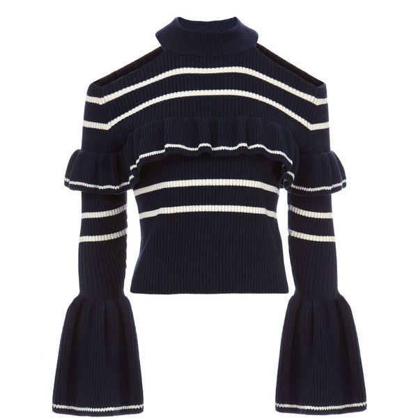Self-Portrait Cold Shoulder Frill Stripe Sweater ($340) ❤ liked on Polyvore featuring tops, sweaters, navy, navy blue tops, blue striped top, navy sweater, cut-out shoulder sweaters and blue cold shoulder top