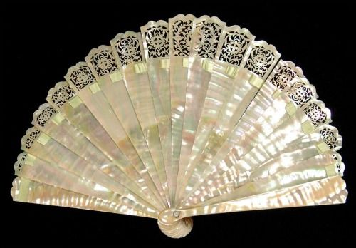 Mother of pearl brisé fan, fourth quarter of the 19th century. Courtesy of the Met.