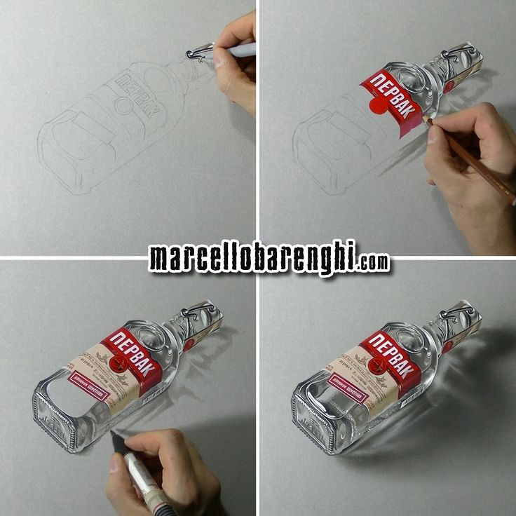 Marcello Barenghi: A bottle of vodka Pervak - drawing phases Watch me draw this…