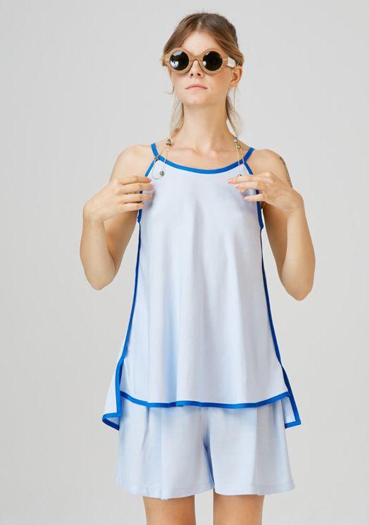 FONYOD - tie back top  CSOPAK - high waist shorts