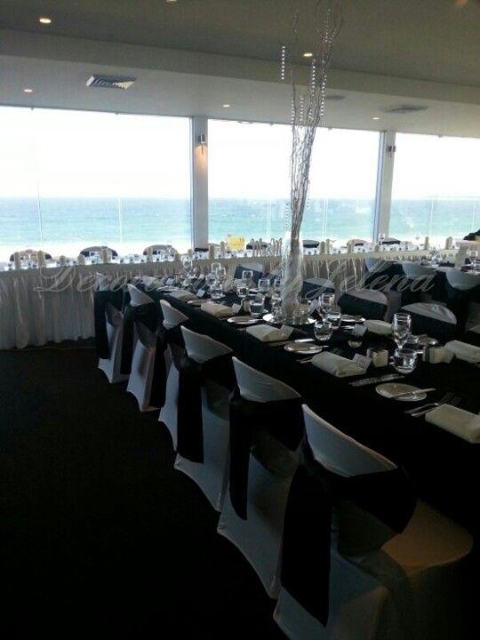 Stunning sea side black and white wedding reception at salt restaurant Cronulla