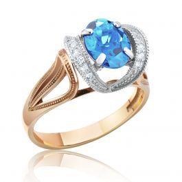 Золотое кольцо с овальным топазом в обрамлении сверкающего циркония. Средний вес кольца - 3,5 грамма. Отличный подарок любимой женщине!