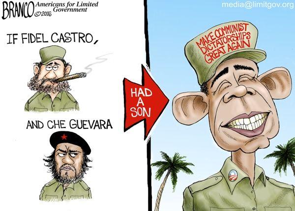 If Castro and Guevara had a son political cartoon.