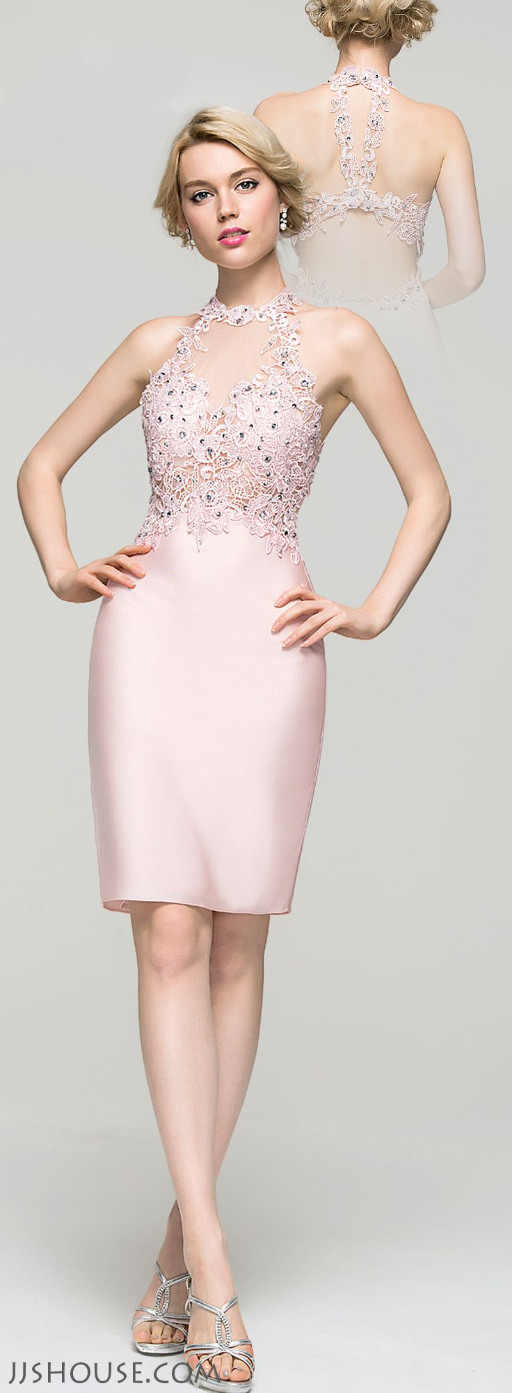 Featuring a sleek sheath silhouette and a beaded bodice you will be picture perfect all night long. #JJsHouse