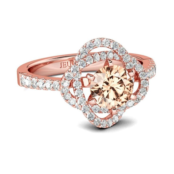#AdoreWe #Jeulia Jewelry - Jeulia Rose Gold Flower Design Round Cut Created Champagne Engagement Ring - AdoreWe.com