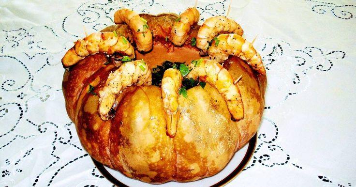 Fabulosa receta para Calabaza rellena de camarones. Este platillolo probé por primera vez en Florianopolis, Brasil y trate de copiarlo varias veces hasta que logrè lo que quería