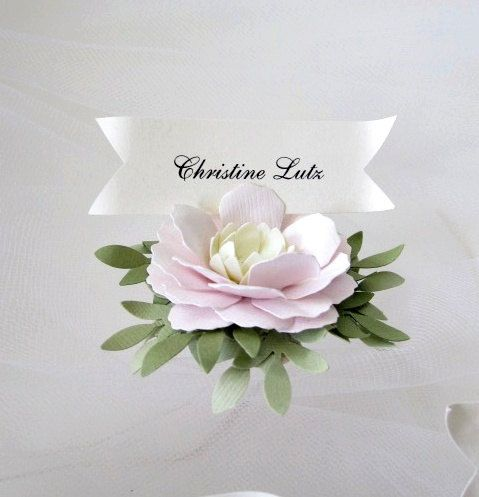 Pink Cream Green Handmade Paper Flower Place Cards by carrieklein, $30.00