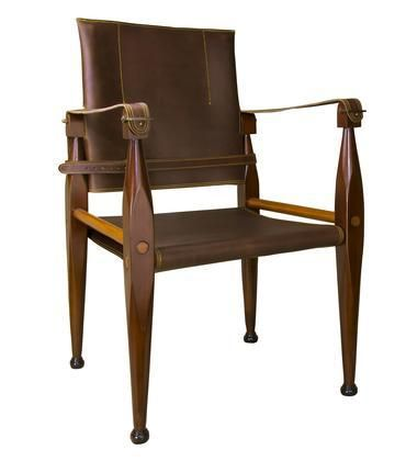 "MF122 Bridle Leather Campaign Chair 22"" with Bridle Leather Maple Brass Material in Honey Distressed French Finish"