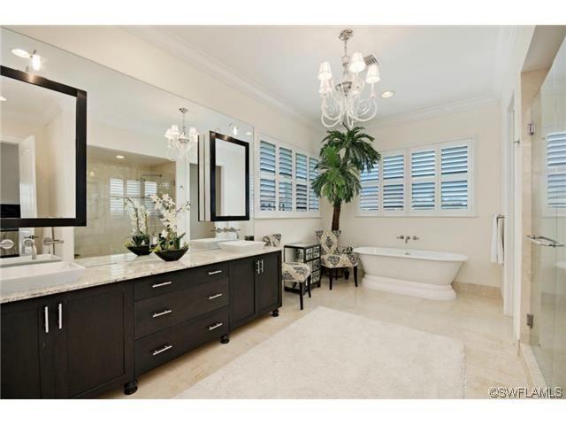 Sold coastal chic master bathroom dark cabinets for Bathroom cabinets naples fl