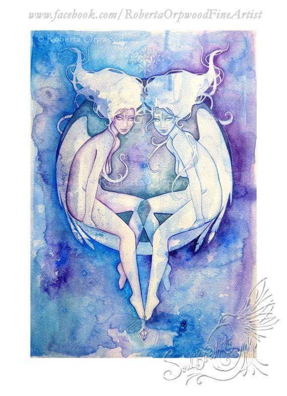 Zwilling Sternzeichen Göttin / Zwillinge / Star Sign / Air Elementals / Astrologie Kunst ~ Art Print aus original-Artworks von Roberta Orpwood