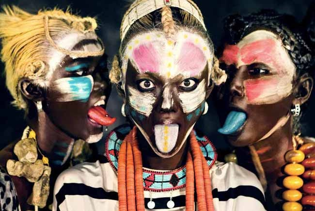 Love the colorful Tribal make up & styling for D Mode Magazine editorial shot by Herring and Herring!