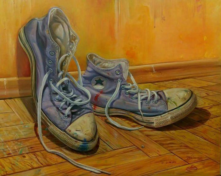 Original Painting, Original Art, Original Oil Painting, Oil Painting, Painting on Canvas, Gift for Him, Converse Shoe Painting, Custom shoes by AthinArtCreations on Etsy