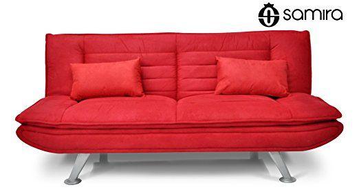 Divano letto in microfibra rosso - Divanetto 3 posti mod. Iris con cuscini
