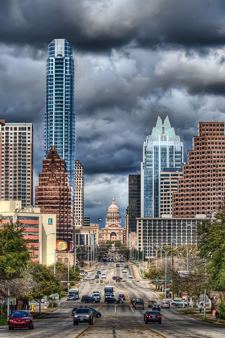 Downtown Austin - on an unusually stormy day!