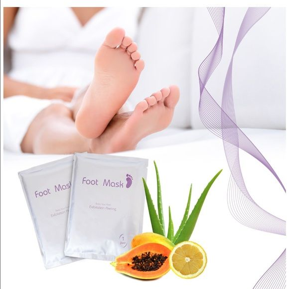 Exfoliating Foot Mask Peel for Baby Soft Feet Exfoliating Foot Mask - Peels Away Calluses and Dead Skin in 2 Weeks!  Exfoliating Foot Mask is a foot exfoliant plus treatment filled in a pair of wearable mask/booties. Put on the mask as you would your socks. It removes calluses over, visibly smoothing your feet within 2 weeks. Papaya, Lemon, Apple, Orange and other natural botanical extracts remove calluses while Chamomile Extract calms freshly exfoliated skin. Makeup