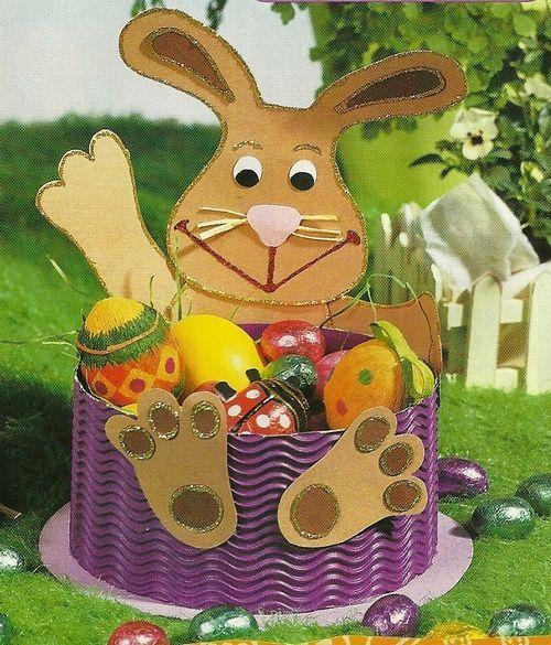 easter bunny basket craft idea for kids (3) | Crafts and Worksheets for Preschool,Toddler and Kindergarten