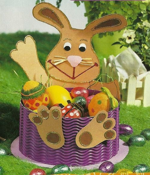 easter bunny basket craft idea for kids (3) | Crafts and Worksheets for Preschool,Toddler and Kindergarten