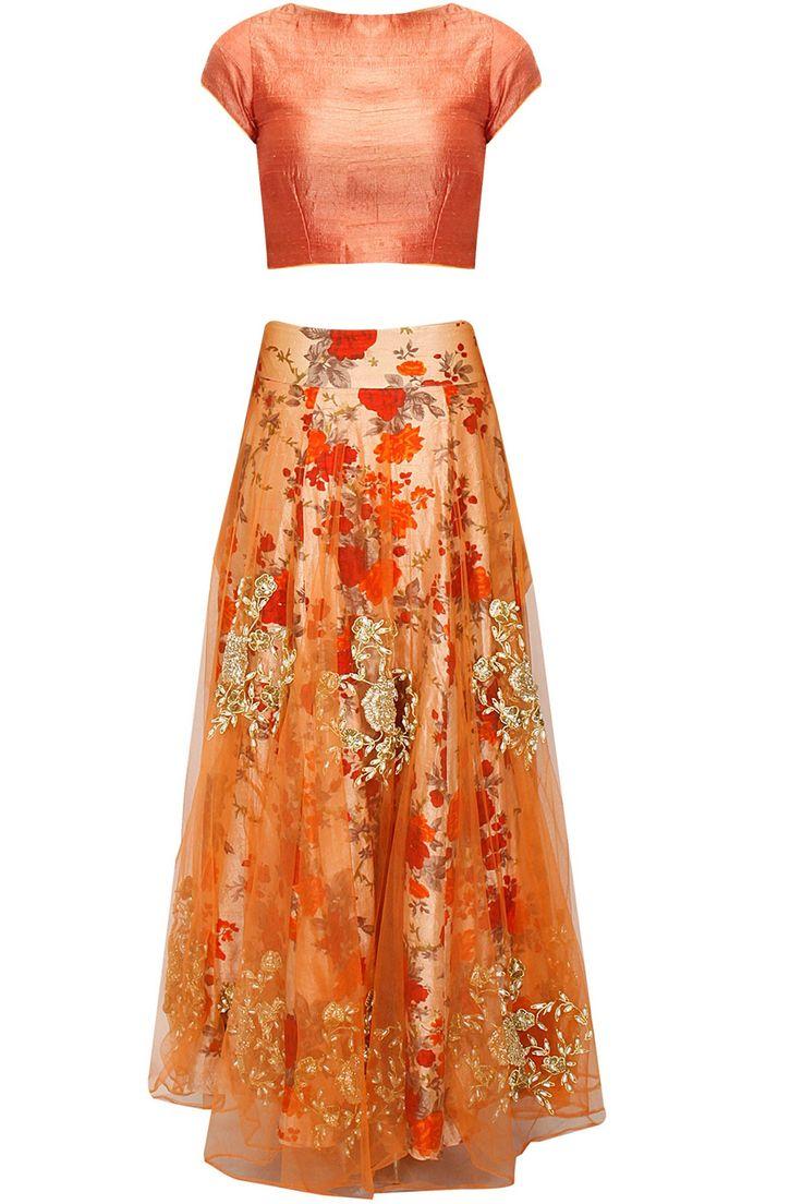 BHUMIKA SHARMA Orange and floral print rose embroidered lehenga set